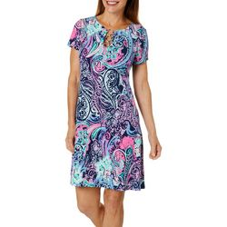 MSK Womens Paisley Print Ring Neck Short Sleeve Dress