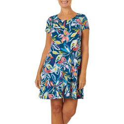 MSK Womens Floral Puff Print Short Sleeve Swing Dress