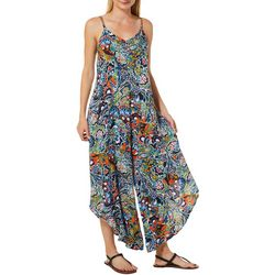 MSK Womens Floral Paisley Wide Leg Sleeveless Jumpsuit