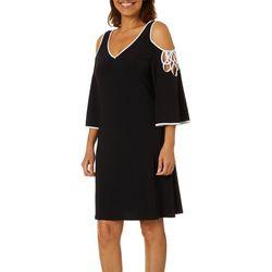 MSK Womens Cold Shoulder Detail Swing Dress