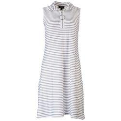 MSK Womens Stripes Zip-up Neck Dress