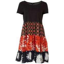 MSK Womens Print Tiered Knit Dress
