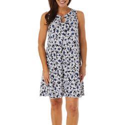MSK Womens Daisy Puff Print Ring Neck Sleeveless Dress