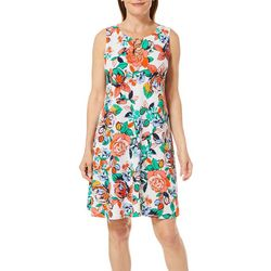 MSK Womens Graphic Floral Ring Neck Dress