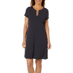 MSK Womens Polka Dot Ring Neck T-Shirt Dress