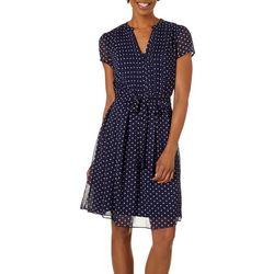 MSK Womens Polka Dot Pleated Tie Waist Dress