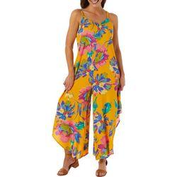 MSK Womens Sleeveless Floral Print Challis Jumpsuit