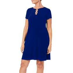 MSK Womens Solid Ring Neck Short Sleeve Dress