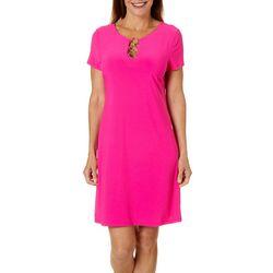 MSK Womens Solid Ring Neck Short Sleeve Dress