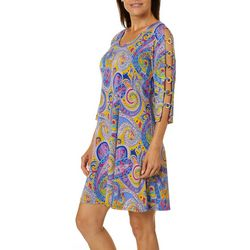 MSK Womens Paisley Ring Detail Caged Cold Shoulder Dress