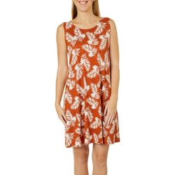 Allison Brittney Womens Tropical Palm Print Sundress