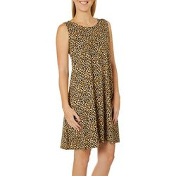 Allison Brittney Womens Leopard Print Sundress