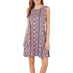 Allison Brittney Womens Geometric Panel Sundress