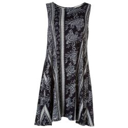 Jamie and Lyla Womens Scarf Print Sleeveless Dress