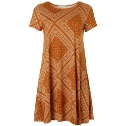 Jamie & Layla Womens Scarf Print T-Shirt Dress