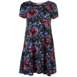 Jamie and Lyla Womens Tie Dye Print T-Shirt Dress