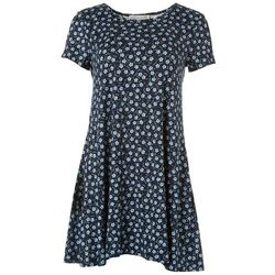 Jamie and Lyla Womens Floral Print T-Shirt Dress