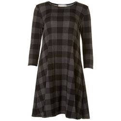 Jamie and Lyla Womens Plaid Print T-Shirt Dress