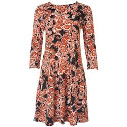 Jamie and Lyla Womens Floral Print 3/4 Sleeve Dress