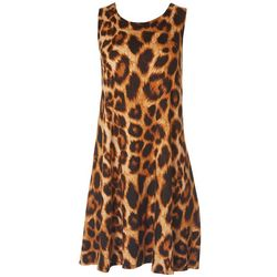 Jamie and Lyla Womens Leopard Print Sleeveless Dress