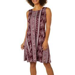 Allison Brittney Womens Striped Paisley Print Sundress