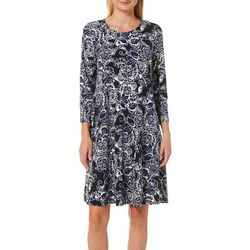 Allison Brittney Womens Floral Brush Quarter Sleeve Sundress