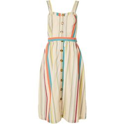 Jamie & Layla Womens Striped Linen Button-Down Dress