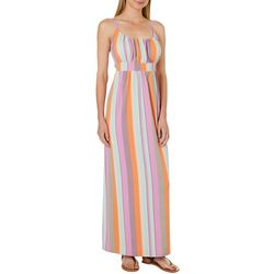Allison Brittney Womens Colorful Striped Tie Back Maxi Dress