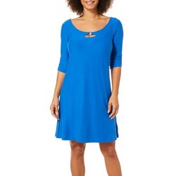 Harlow and Rose Womens Solid Keyhole Dress