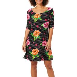 Harlow and Rose Womens Floral Dot Keyhole Dress