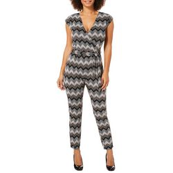 Harlow and Rose Womens Belted Chevron Jumpsuit