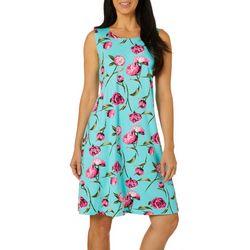 Allison Brittney Womens Floral Print Sleeveless Sundress