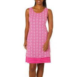 Allison Brittney Womens Reversible Geometric Stripe Dress
