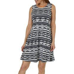 Allison Brittney Womens Striped Ikat Print Sundress