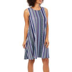 Allison Brittney Womens Geometric Striped Sundress