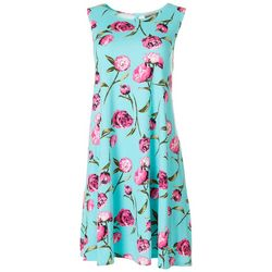 Allison Brittney Womens Peony Print Yummy Swing Dress