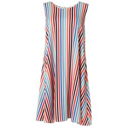 Allison Brittney Womens Sleeveless Stripe Yummy Swing Dress