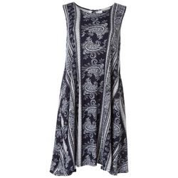 Allison Brittney Womens Paisley Print Sleeveless Swing Dress