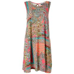 Allison Brittney Womens Sleeveless Paisley Yummy Swing Dress