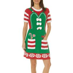 Allison Brittney Womens Santa's Helper Sweater Dress