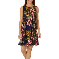 Allison Brittney Womens Floral Yummy Swing Dress