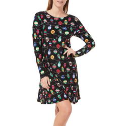 Harlow and Rose Womens Christmas Ornament Long Sleeve Dress