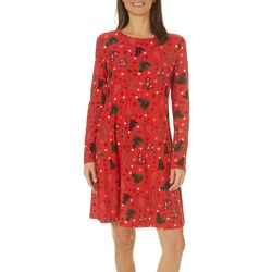 Harlow and Rose Womens Snowy Christmas Long Sleeve Dress