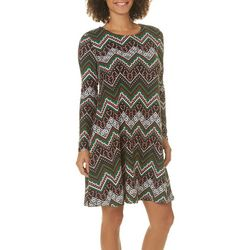 Harlow and Rose Womens Candy Cane Chevron Long Sleeve Dress