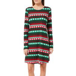 Harlow and Rose Womens Snowy Striped Long Sleeve Dress