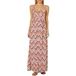 Allison Brittney Womens Twist Chevron Print Maxi Dress