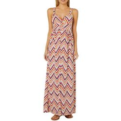 Allison Brittney Womens Twist Chevron Print Maxi Dress