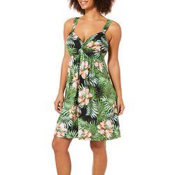 Allison Brittney Womens Tropical Floral Twist Neck Sundress