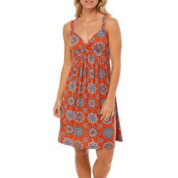 Allison Brittney Womens Medallion Tile Twist Neck Sundress