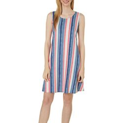Allison Brittney Womens Vertical Stripe Yummy Swing Dress